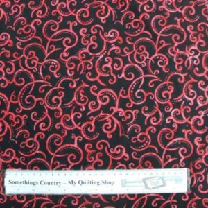 Country-Patchwork-Quilting-Fabric-Black-with-Red-Swirls-Batik-Sewing-50x55FQ-111674989926