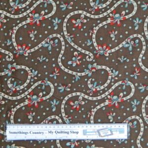 Country-Patchwork-Quilting-Fabric-Brown-Daisy-Doodle-Trail-Cotton-Sewing-50x55cm-161629178019