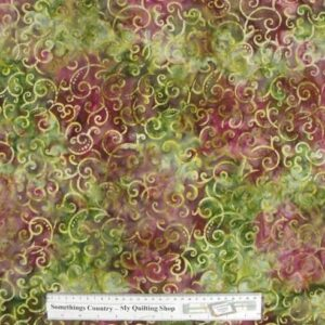Country-Patchwork-Quilting-Fabric-BurgGreen-Swirls-Batik-Cotton-Sewing-50x55FQ-111674985883