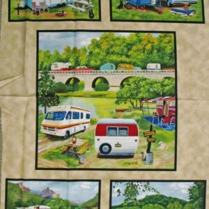 Country-Patchwork-Quilting-Fabric-CARAVAN-VINTAGE-TRAILER-Panel-60-X-110cm-New-112143837022