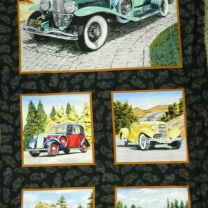 Country-Patchwork-Quilting-Fabric-CLASSIC-CARS-VINTAGE-NEW-Sewing-Panel-60x110cm-162065771696
