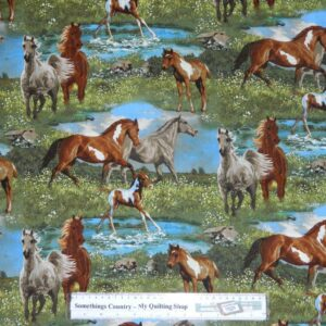 Country-Patchwork-Quilting-Fabric-Camden-Horses-Allover-50x55cm-FQ-New-162209451999