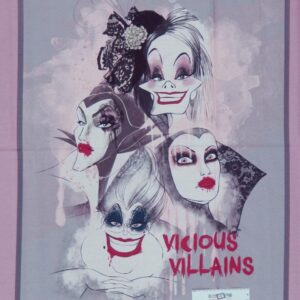 Country-Patchwork-Quilting-Fabric-DISNEY-VILLAINS-Sewing-Panel-90x110-cm-NEW-112063745454