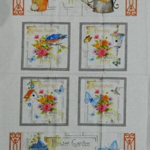 Country-Patchwork-Quilting-Fabric-FLOWER-GARDEN-BIRD-Sewing-CottonPanel-60x110cm-162065750899