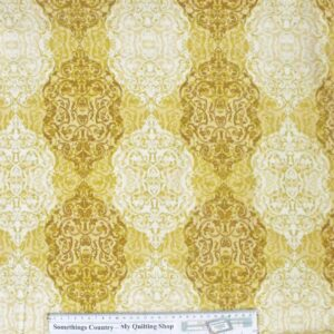 Country-Patchwork-Quilting-Fabric-Gold-Swirls-Pattern-Cotton-Sewing-50x55-New-FQ-161645524441