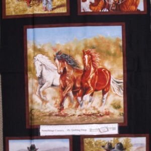 Country-Patchwork-Quilting-Fabric-Horsein-Around-Horse-Panel-60-x-110cm-New-112142595704