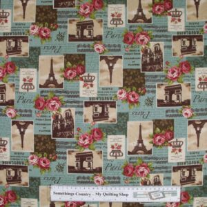 Country-Patchwork-Quilting-Fabric-Linen-Allover-Sewing-50x55-Paris-Roses-Blue-161799245881