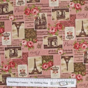 Country-Patchwork-Quilting-Fabric-Linen-Allover-Sewing-50x55-Paris-Roses-Pink-111747827063