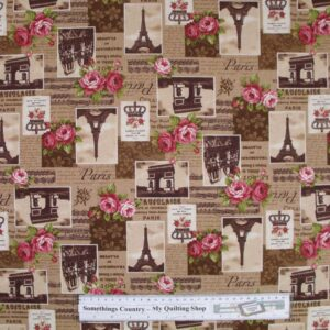 Country-Patchwork-Quilting-Fabric-Linen-Allover-Sewing-50x55-ParisRoses-Coffee-161799849148
