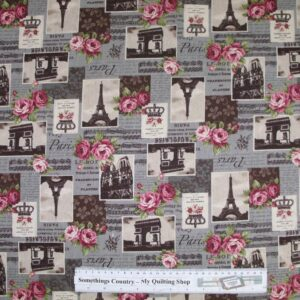 Country-Patchwork-Quilting-Fabric-Linen-Allover-Sewing-50x55-ParisRoses-Lavender-111747828420
