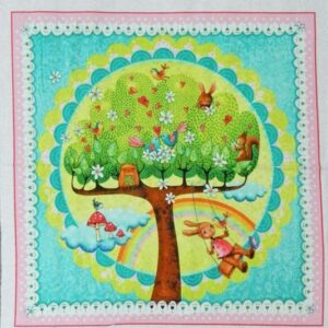 Country-Patchwork-Quilting-Fabric-RAINBOW-WOODLAND-RAINBOW-Sewing-Panel-60x110cm-111992216995