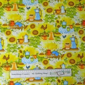 Country-Patchwork-Quilting-Fabric-Sunflower-Kitchen-Cotton-Sewing-50x55FQ-111674937913