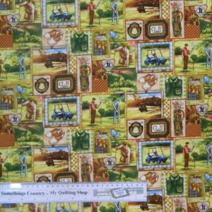 Country-Patchwork-Quilting-Fabric-TEE-TIME-GOLF-Sewing-Cotton-50x55cm-FQ-NEW-161890659649
