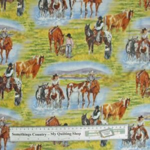 Country-Patchwork-Quilting-Fabric-Western-Horse-Cowboy-Cotton-Sewing-50x55FQ-162209530063
