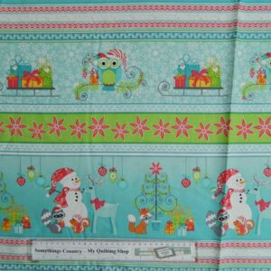 Country-Patchwork-Quilting-Fabric-Xmas-Frosty-Friends-Owls-Border-50x110cm-New-111757824585