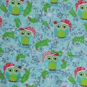 Country-Patchwork-Quilting-Fabric-Xmas-Frosty-Owls-Allover-50x55cm-FQ-New-111757823334