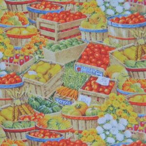 Country-Patchwork-Quilting-Farm-Fresh-Produce-Allover-Sewing-50-x-55-FQ-New-111724159968
