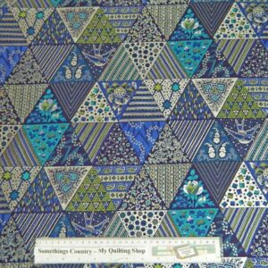 Country-Patchwork-Quilting-Metallic-Triangles-Blue-Cotton-Sewing-50x55-FQ-New-112163363525
