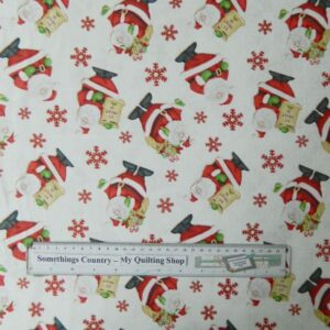 Country-Patchwork-Quilting-Santa-Christmas-Allover-Cotton-Sewing-50x55-FQ-New-111723823575