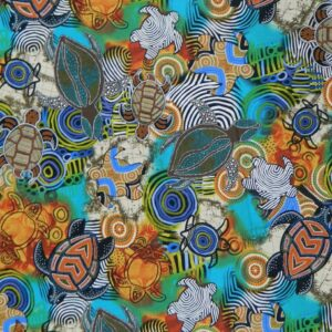 Country-Patchwork-Quilting-Sewing-Fabric-ABORIGINAL-SEA-TURTLES-Ocean-FQ-50x55cm-111913798901