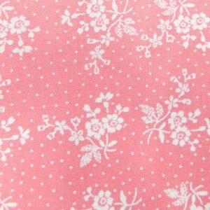 Country-Patchwork-Quilting-Sewing-Fabric-APRICOT-PINK-White-Flowers-FQ-50x55cm-111913886266