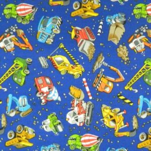 Country-Patchwork-Quilting-Sewing-Fabric-CONSTRUCTION-Earthmovers-Dig-FQ-50x55cm-111914936474