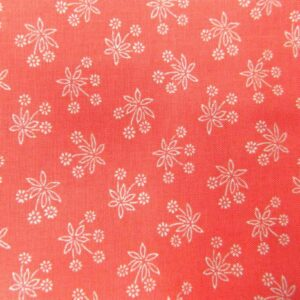 Country-Patchwork-Quilting-Sewing-Fabric-CORAL-RED-White-Flowers-FQ-50x55cm-NEW-161986587230