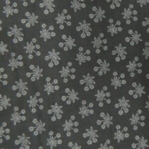 Patchwork Quilting Sewing Fabric DARK GREY White Flowers FQ 50x55cm New Material