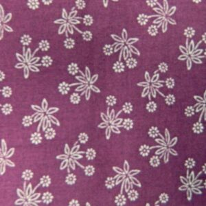 Patchwork Quilting Sewing Fabric GRAPE PURPLE White Flowers FQ 50x55cm New Material