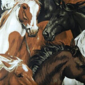 Country-Patchwork-Quilting-Sewing-Fabric-HORSES-HEADS-RUN-FREE-Allover-FQ50x55cm-111914855071