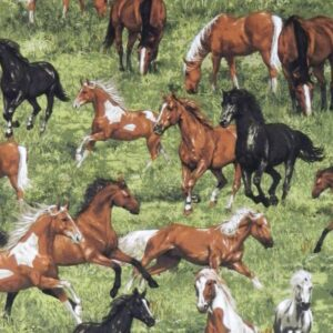 Country-Patchwork-Quilting-Sewing-Fabric-HORSES-RUNNING-FREE-Allover-FQ-50x55cm-161987471984