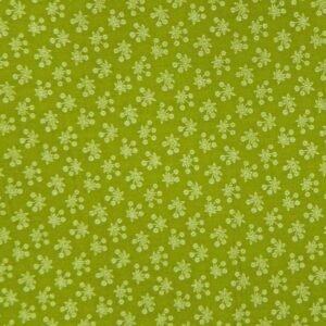 Country-Patchwork-Quilting-Sewing-Fabric-MOSS-GREEN-White-Flowers-FQ-50x55cm-NEW-161986582751