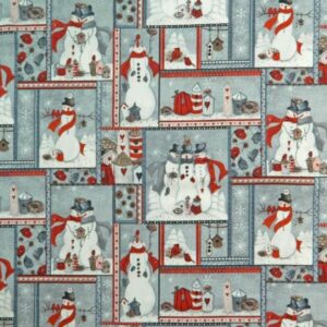 Country-Patchwork-Quilting-Sewing-Fabric-SNOWMAN-PATCH-FQ-Xmas-Grey-50x55cm-NEW-161987464748
