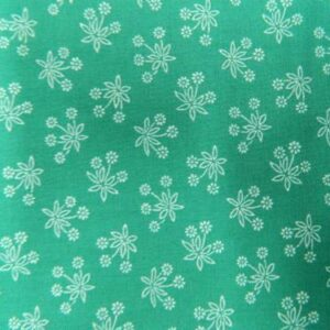 Country-Patchwork-Quilting-Sewing-Fabric-TEAL-GREEN-White-Flowers-FQ-50x55cm-NEW-161986584042