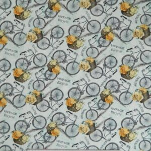 Country-Patchwork-Quilting-Vintage-Garden-Bicycles-Blue-Sewing-50x55-FQ-New-111723997942