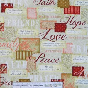 Country-Patchwork-Quilting-WORDS-TO-LIVE-BY-BEIGE-Cotton-Sewing-50x55cm-FQ-NEW-161871058623