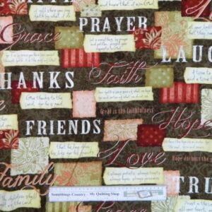 Country-Patchwork-Quilting-WORDS-TO-LIVE-BY-BROWN-Cotton-Sewing-50x55cm-FQ-NEW-111807681208