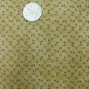 Country-Quilting-Cotton-Sewing-Fabric-Buttons-Blooms-GoldTan-FQ-50x55cm-New-111509497154