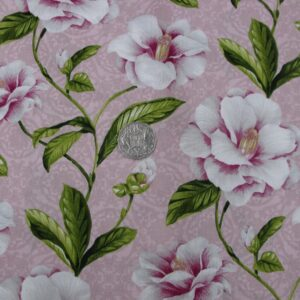 Country-Quilting-Cotton-Sewing-Fabric-Pink-Floral-Camelias-FQ-50-x55cm-New-110933157440