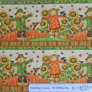 GRATEFUL-HARVEST-Scarecrows-Bord-Patchwork-Quilting-Sewing-Fabric-Panel-40x110cm-111787036348