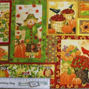 GRATEFUL-HARVEST-Scarecrows-Patchwork-Quilting-Sewing-Fabric-Panel-30x110cm-NEW-161845327487