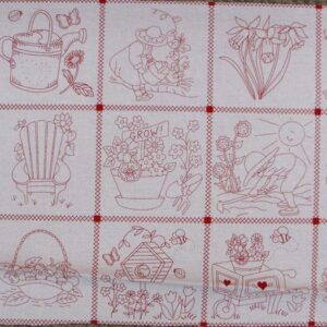LOVE-GARDEN-GROW-Red-Patchwork-Quilting-Sewing-Fabric-Panel-30x110cm-NEW-Country-111894196940