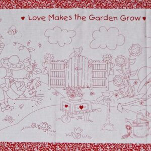 LOVE-GARDEN-GROW-Red-Patchwork-Quilting-Sewing-Fabric-Panel-60x110cm-NEW-Country-111894195810