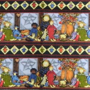 PRIMITIVE-DOLLS-BORDER-PRINT-Patchwork-Quilting-Sewing-Fabric-Panel-40x110cm-NEW-161967962498