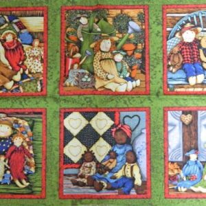 PRIMITIVE-DOLLS-SQUARE-PRINT-Patchwork-Quilting-Sewing-Fabric-Panel-30x110cm-NEW-111895293419
