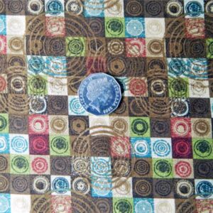 Patchwork-Country-QUILTING-Fabric-Urban-Chic-Brown-Blue-swirls-FQ-50x55cm-161243100358