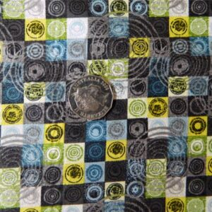 Patchwork-Country-QUILTING-Fabric-Urban-Chic-CharcoalYellow-swirls-FQ-50x55cm-161243099929