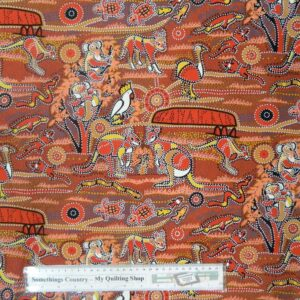 Patchwork-Quilting-Cotton-Fabric-AUSTRALIAN-ABORIGINAL-REDS-Sewing-50x55cm-FQ-111855842513