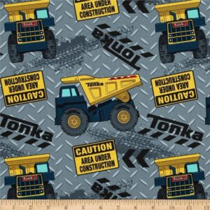 Patchwork-Quilting-Cotton-Fabric-TONKA-TRUCKS-Allover-Material-50-x-55cm-FQ-New-162255784040