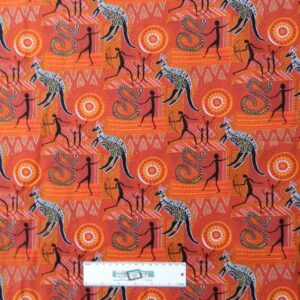 Patchwork-Quilting-Fabric-ABORIGINAL-KANGAROO-Sewing-Material-Cotton-FQ50X55cm-162098185987